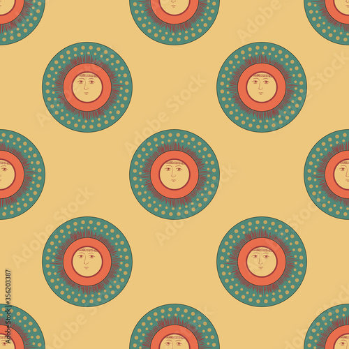 Seamless geometrical pattern with round solar shapes. Folk Russian style. Stylized funny sun with human face.