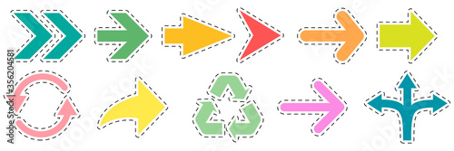 Arrows set stickers icons. Arrow colorful collection vector illustration isolated on white.