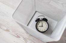 Top View Of An Alarm Clock Dis...