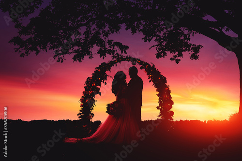 Fototapeta The silhouette of a young couple (bride and groom) standing at a round flower arch under a large single tree in a field at sunset. A destination summer wedding, romantic country ceremony. obraz