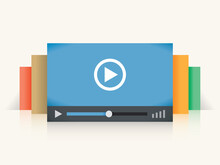Video Player Colorful Windows. Concepts: Online Internet Streaming Video Technology (Youtube, Vimeo, Netflix Etc Services), Home Cinema And Films Watching, Smart Digital TV Etc.