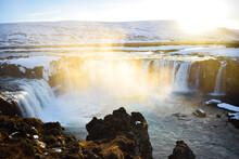 Islandia Cascada Y Puesta De Sol