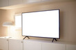 television mockup in living room