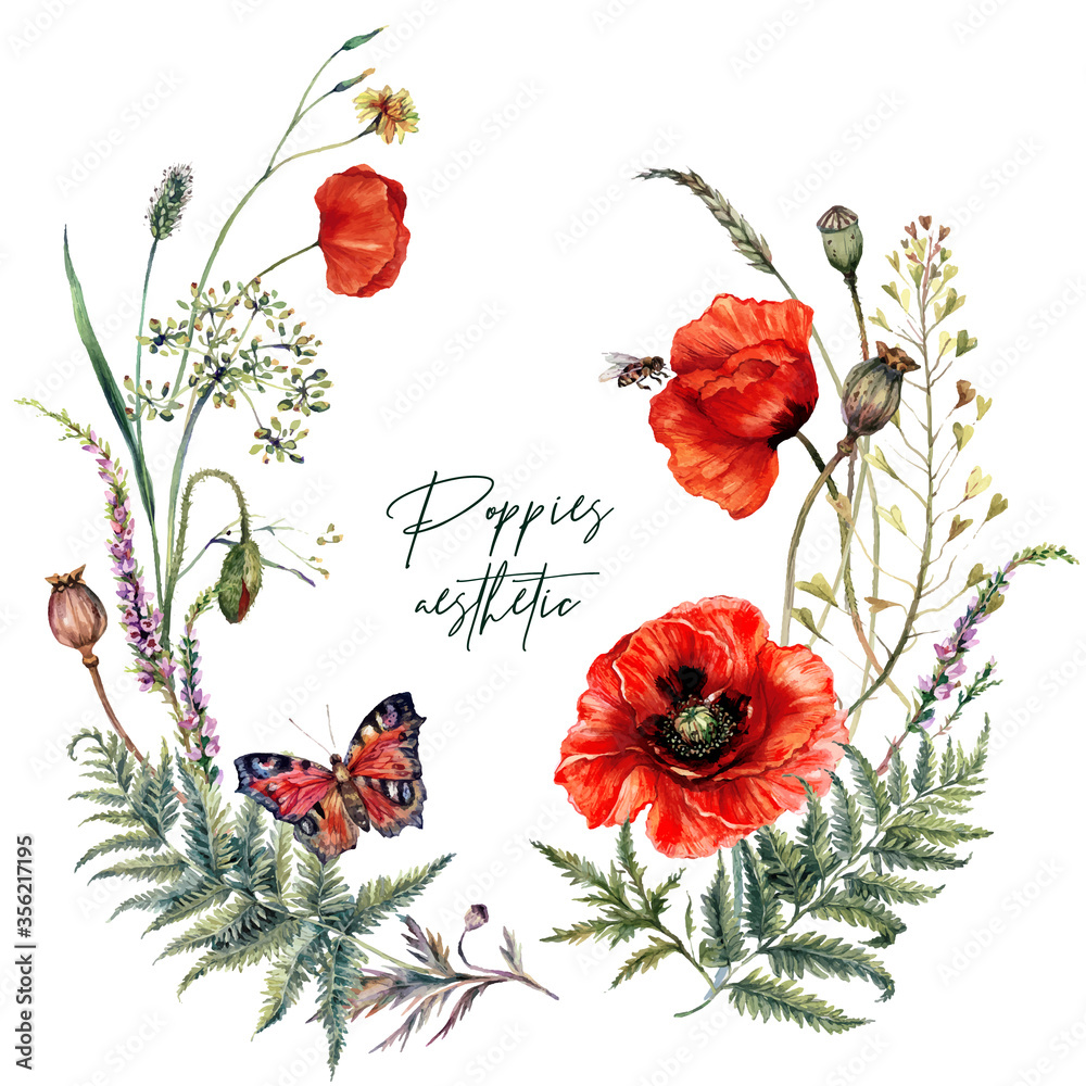 Watercolor Summer Meadow Wildflowers and Poppies Wreath - obrazy, fototapety, plakaty