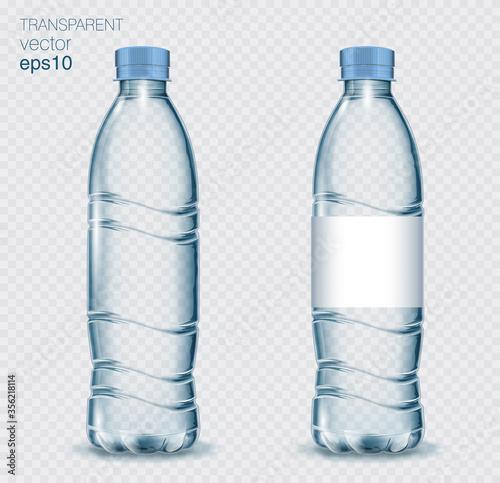 Fototapeta Transparent realistic vector blue plastic bottle with water on light background obraz