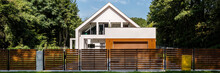 Modern House With Fence, Panorama