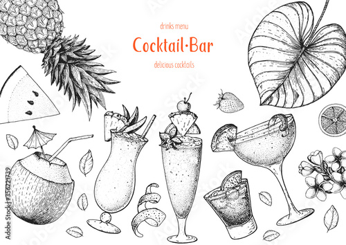 Alcoholic cocktails hand drawn vector illustration Canvas Print