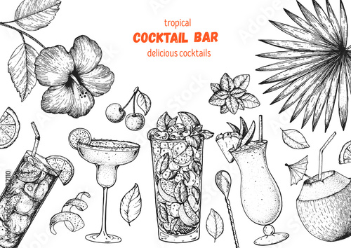 Alcoholic cocktails hand drawn vector illustration Wallpaper Mural