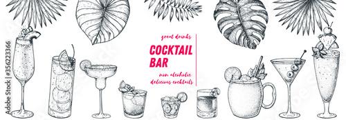 Obraz Alcoholic cocktails hand drawn vector illustration. Hand drawn sketch. Cocktails and palm leaves set. Menu design elements. Summer bar menu. - fototapety do salonu
