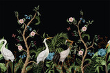 Border with cranes and peonies in chinoiserie style. Vector. - 356225155
