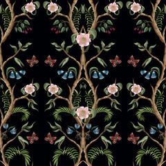 Panel Szklany Podświetlane Peonie Seamless pattern with peony bushes and flowers in chinoiserie style. Vector.