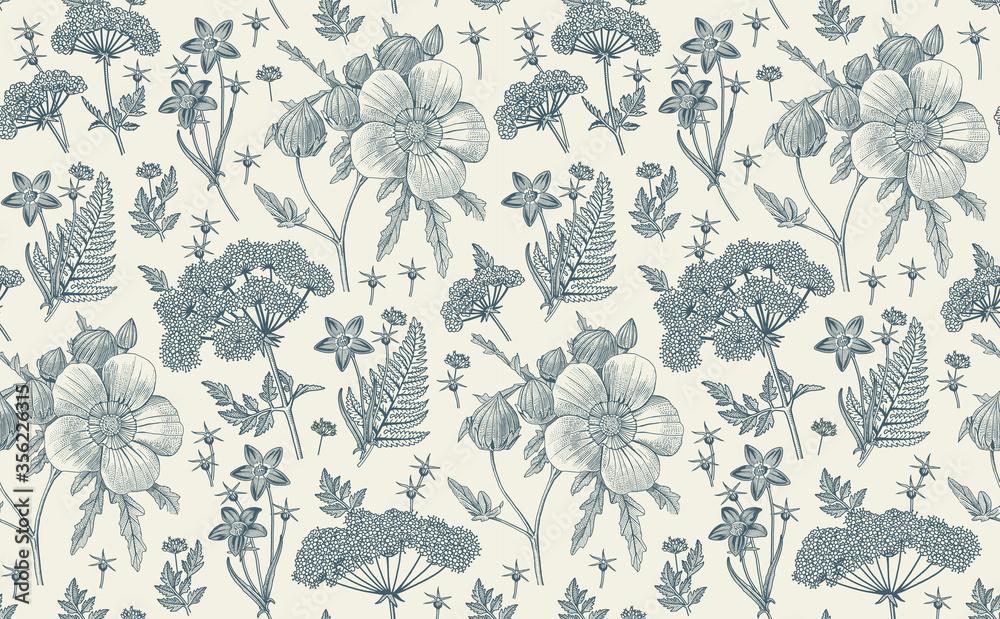 Fototapeta Seamless pattern fabric. Beautiful realistic isolated flowers. Vintage background. Hibiscus, Wahlenbergia Hemlock fern wildflowers. Wallpaper baroque. Drawing engraving. Vector victorian illustration