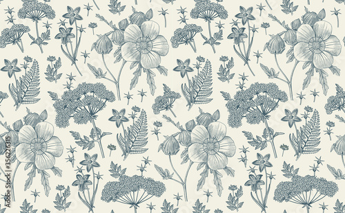 Obraz Seamless pattern fabric. Beautiful realistic isolated flowers. Vintage background. Hibiscus, Wahlenbergia Hemlock fern wildflowers. Wallpaper baroque. Drawing engraving. Vector victorian illustration - fototapety do salonu