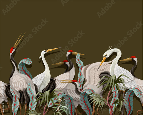 Cuadros en Lienzo Border with Japanese white cranes. Oriental wallpaper.
