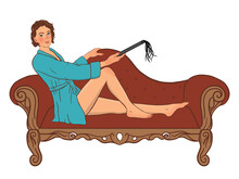 Woman On The Sofa Wants To Start A Sexual Game Bdsm Illustration In Pin Up Style In Color