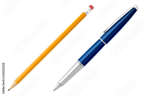 Office pen and pencil stationery in realistic style. Billede på lærred