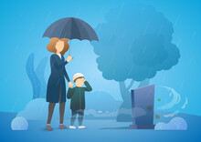 Sad Woman With Son Grieving In A Cemetery. Woman Standing At The Gravestone Of Her Beloved Husband. Rainy Day. Family Member Death From The Coronavirus. Vector Flat Illustration Concept.