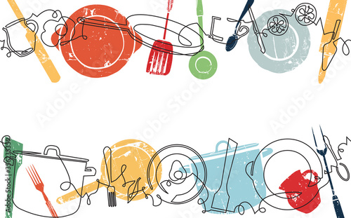 Poster with Utensils and Food. Backgroud for your design works. Cooking Horizontal Pattern. Vector illustration.