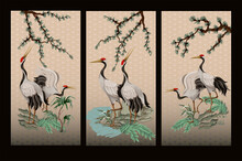 Folding Screen In Chinoiserie Style With White Cranes. Vector.