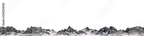 Papel de parede Snowy mountains. Isolate on white background. 3d render
