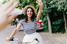 Excited Girl Sitting On Bicycl...