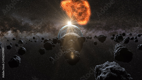 flying asteroid, meteorite to Earth Canvas Print
