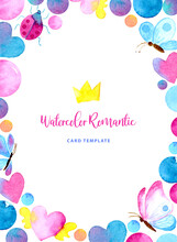 Watercolor Card Template Of Co...