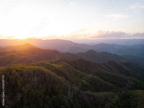 View of Mountain Ridges from Wesser Bald Fire Tower in the Nantahala National Forest in Western North Carolina at Sunset