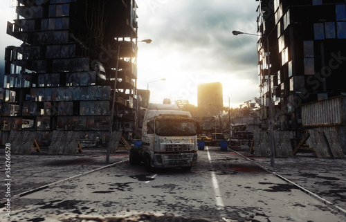 Obraz Apocalypse city in fog. Aerial View of the destroyed city. Apocalypse concept. 3d rendering. - fototapety do salonu