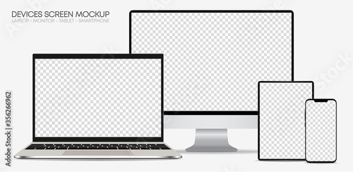 Obraz Set of devices on white background. Computer laptop tablet and smartphone with empty screens – Silver Mock up – Vector, EPS 10, illustartion - fototapety do salonu