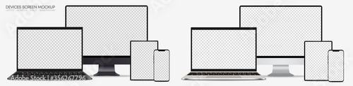 Obraz Full collection of realistic computer monitors, laptops, tablets and mobile phones - Set electronic gadgets isolated on white background – Silver and dark grey vector - fototapety do salonu