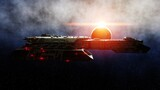 Futuristic space ship in . Earth planet wonderfull view. realistic metal surface . 3d rendering.