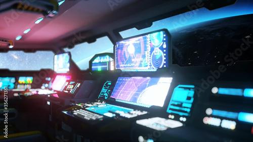 Photo space ship futuristic interior