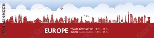 Obraz na plátně Europe travel destination grand vector illustration.