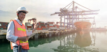 Container Boat And Cargo Pier ...
