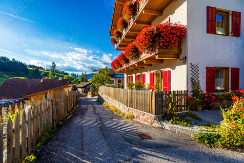 Photo Street view of Santa Maddalena (Santa Magdalena) village, Val di Funes valley, Trentino Alto Adige region, South Tyrol, Italy, Europe