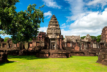 Perfect View Of Prasat Hin Pimai (Pimai Historical Park) The Ancient Sand-stone Khmer-style Temple In Nakhon Ratchasima Province, Thailand,Asia.Amazing Stone Castle.This Is A Public Place.