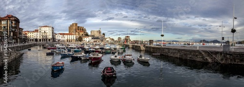 Panoramic shot of the port of Castro-Urdiales full of boats captured in Cantabria, Spain