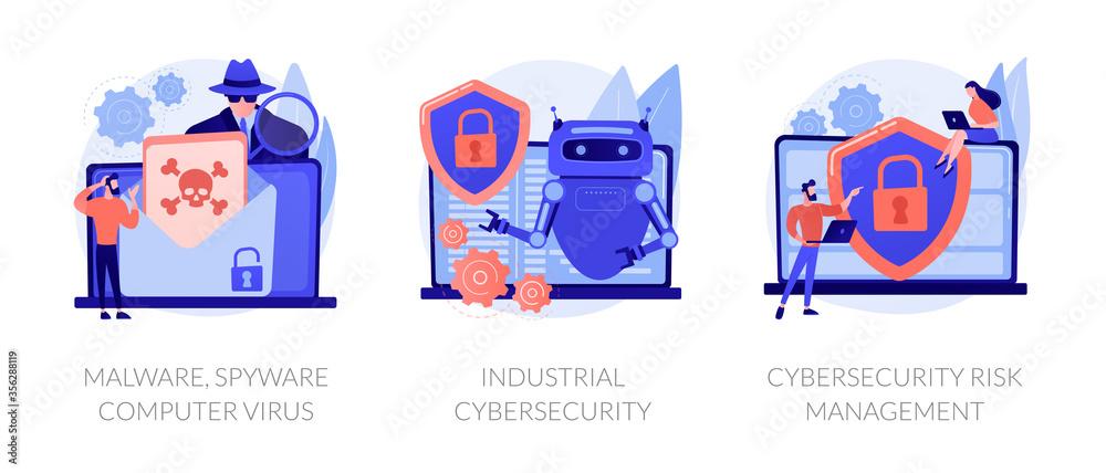 Fototapeta Antivirus software development. Malware, computer virus and spyware, industrial cybersecurity, cybersecurity risk management metaphors. Vector isolated concept metaphor illustrations