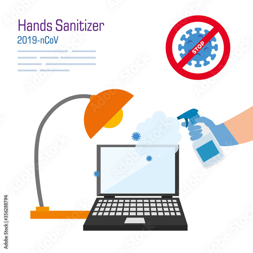 Obraz hand cleaning laptop with covid 19 virus design, Disinfects clean antibacterial and hygiene theme Vector illustration - fototapety do salonu