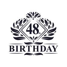 48 Years Birthday Logo, Luxury 48th Birthday Celebration.
