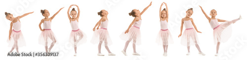 Photo Cute little ballerina on white background