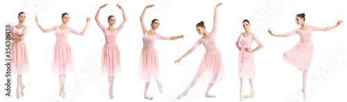 Fotografie, Obraz Beautiful young ballerina on white background