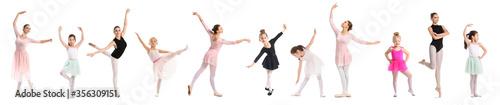 Fotografia Set of beautiful ballerinas on white background