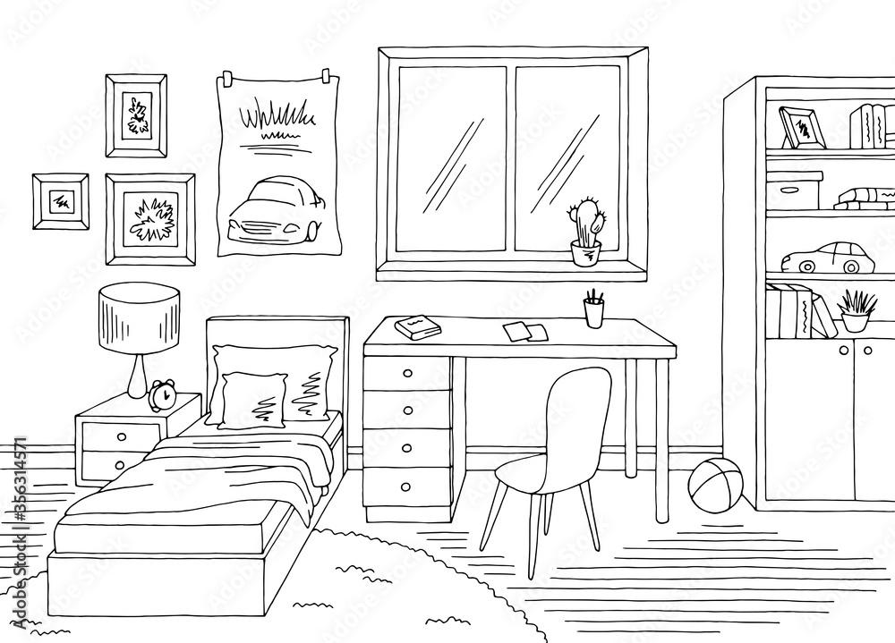 Fototapeta Children room graphic black white home interior sketch illustration vector