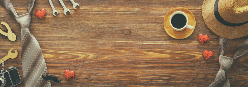 Fototapeta Father's day concept over wooden background. top view, flat lay