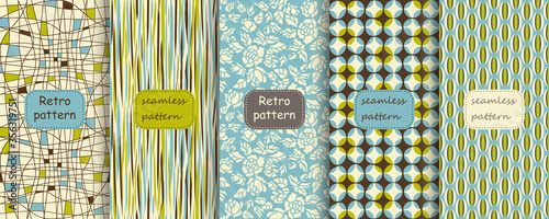 Set of Retro seamless patterns from the 50s and 60s Canvas Print