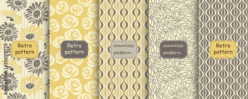 Obraz na plátně Set of Retro seamless patterns from the 50s and 60s
