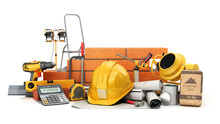 Modern Construction Costing Concept Hard Hat Bricks Wall And Tape Measure In The Drawings Next To The Calculator 3d Render On White