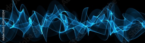 Obraz  Blue abstraction with waves. Modern panoramic background  - fototapety do salonu